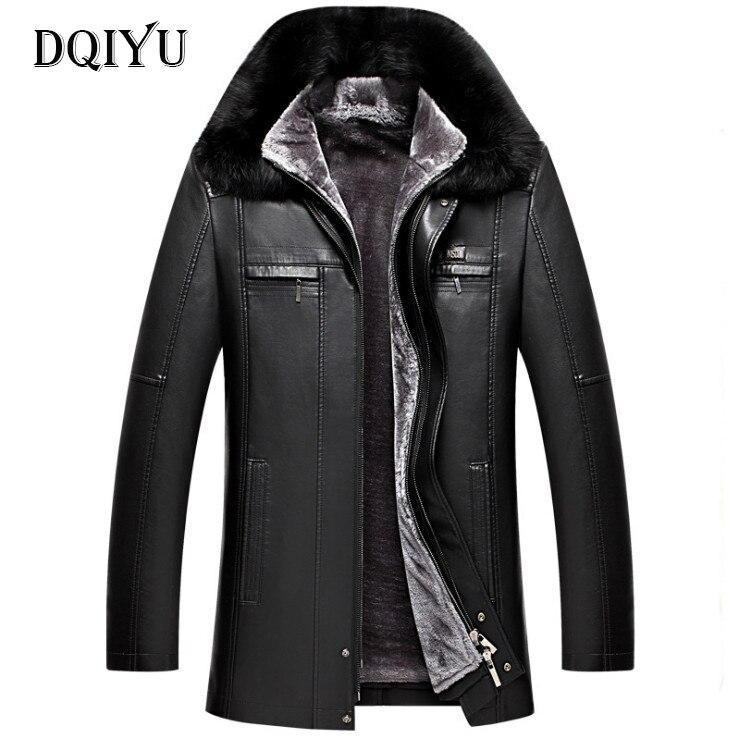 DQIYU russie hiver veste en cuir hommes nouveau col en fourrure véritable veste en cuir épaissir Long hommes coupe-vent veste décontracté mâle manteau