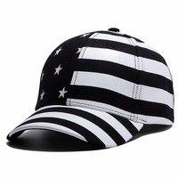 New Hot 6 Panel American Flag Snapback Hat USA Stars Black White Stripes Cool Patriotic Men