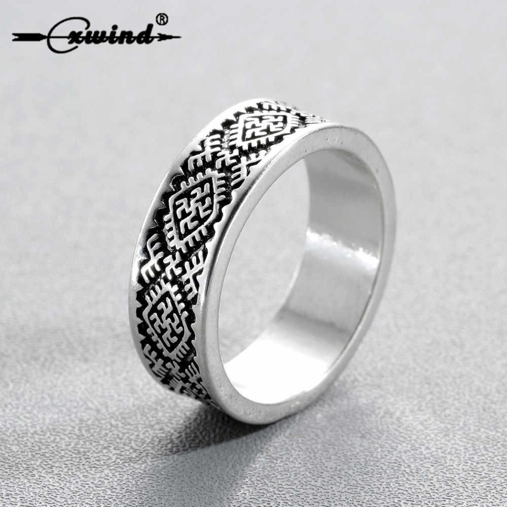 Cxwind Retro Amulet Pagan's Rings Slavic Fern Flower Ring Kolovrat Star of Russia Talisman Rings Men Bague Knuckle Jewelry Gift