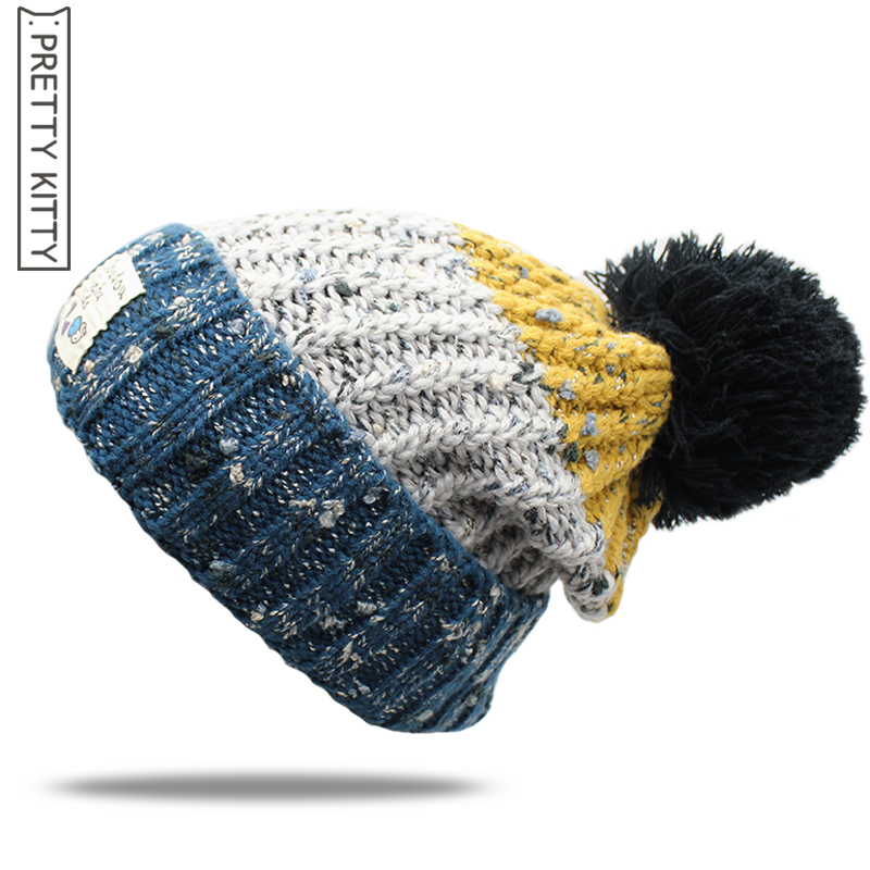PRETTY KITTY Brand new fashion warm Double layer  ball cap pom poms winter hat for women girls hat knitted beanies cap 4pcs new for ball uff bes m18mg noc80b s04g