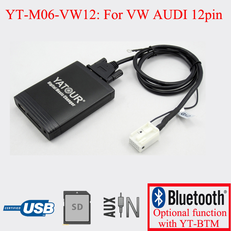 Car radio digital USB SD AUX player for VW AUDI Skoda Seat 12PIN apps2car usb sd aux car mp3 music adapter car stereo radio digital music changer for volvo c70 1995 2005 [fits select oem radio]