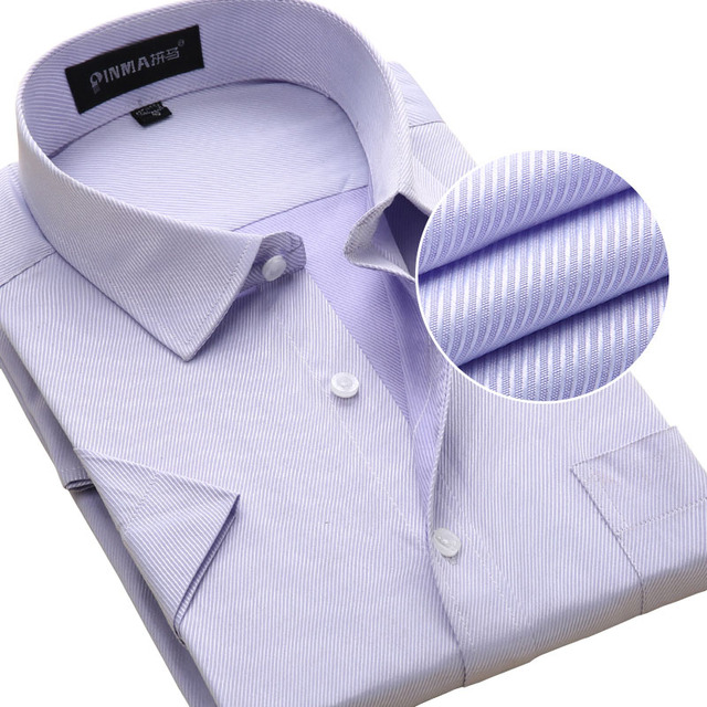Summer New 2016 Mens Short Sleeve Shirts Twill Fashion Solid Color Turn-down Collar Regular Fit Business Casual Mens Dress Shirt