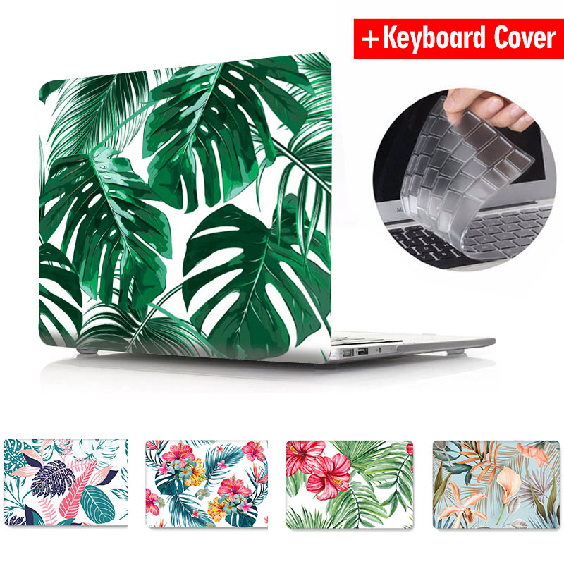 Case For Apple Macbook Air Pro Retina 11 12 13 15 inch Crystal Transparent 3D Print Flower Leaves for Mac book Pro 15 Case Coque