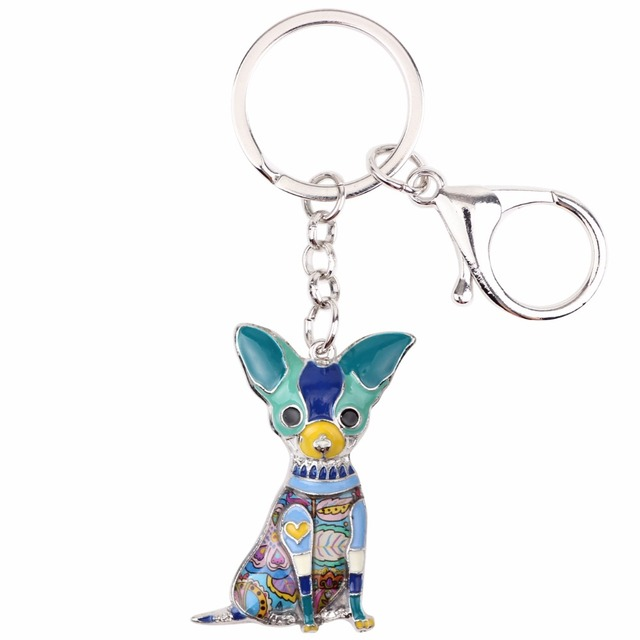 Prívesok na kľúče ČIVAVA 6farieb KeyChain Enamel Metal Chihuahua 6colors