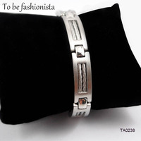 Fashion Jewelry Spring Wire Line Cord Cable Silver Bracelets 316L Stainless Steel Cool Wiring Bracelet Bangle