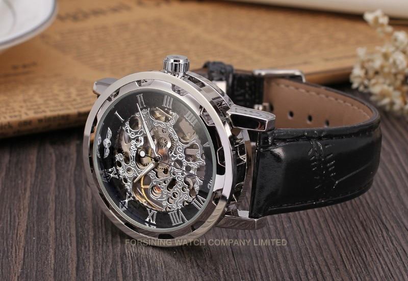 Winner Men Automatic Watch Silver Case Black Dial Silver Numerals
