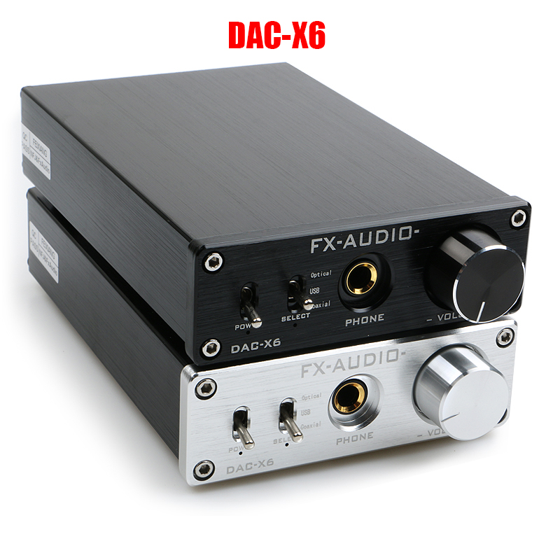 FX-AUDIO DAC-X6 HiFi 2.0 Digital Audio Decoder DAC Input USB/Coaxial/Optical Output RCA/ Amplifier 24Bit/96KHz DC12V