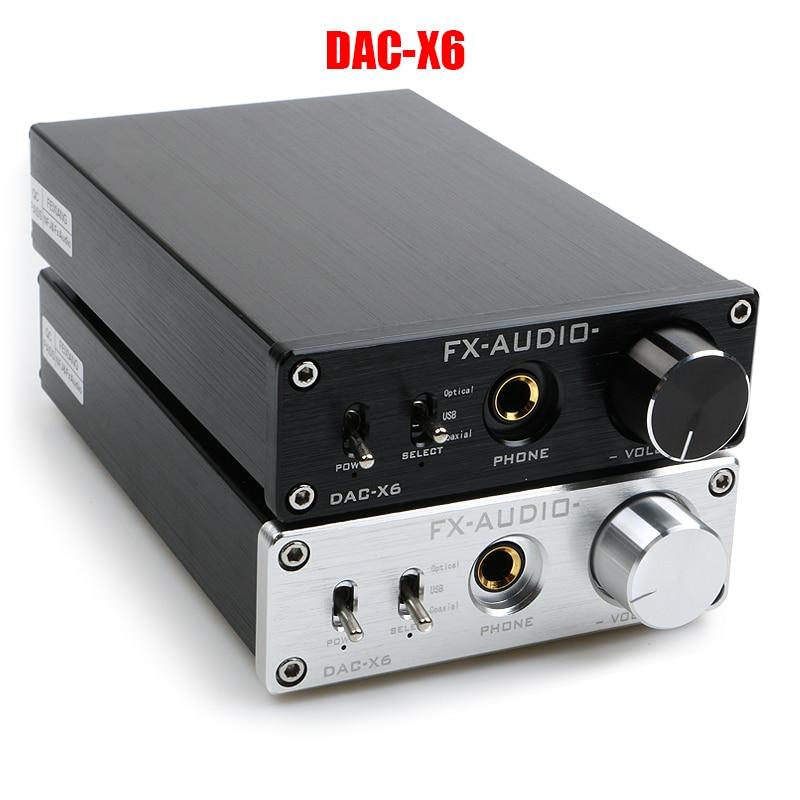 FX-AUDIO DAC-X6 HiFi 2,0 Digital Audio Decoder DAC Eingang USB/Koaxial/Optischer Ausgang RCA/Verstärker 24Bit/96 KHz DC12V