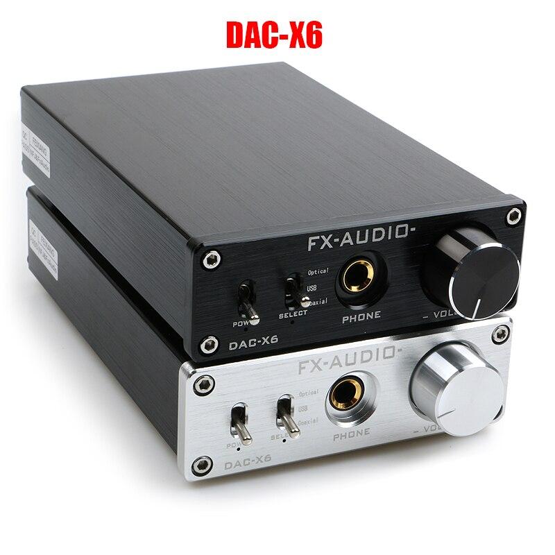 FX-AUDIO DAC-X6 HiFi 2.0 Digital Audio Decoder DAC Input USB/Coaxial/Optical Output RCA/ Amplifier 24Bit/96KHz DC12V