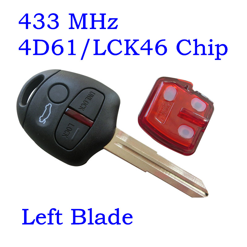 Remote Key Fob 3 Buttons Fit For Mitsubishi Lancer EX Remote key 433mhz LCK ID46 4D61 Chip MIT11R MIT8 Blade