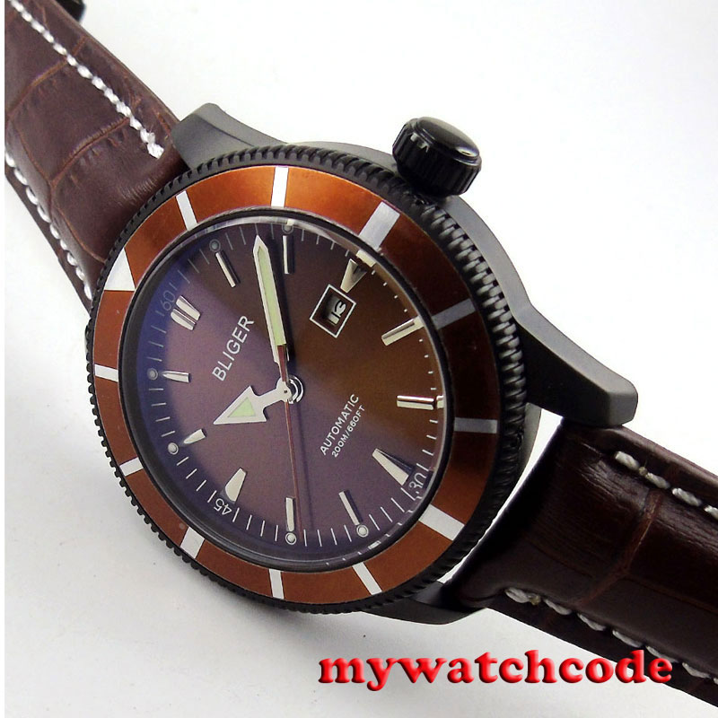 46mm bliger coffee dial PVD case luminous marks date automatic mens watch B134 цена и фото