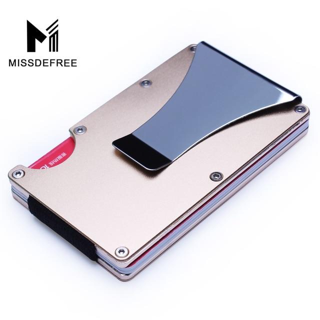 86150e1d39101 Aluminiowy portfel Rfid blokowanie Mini Slim metalowy portfel z Anti-szef  ID etui na karty