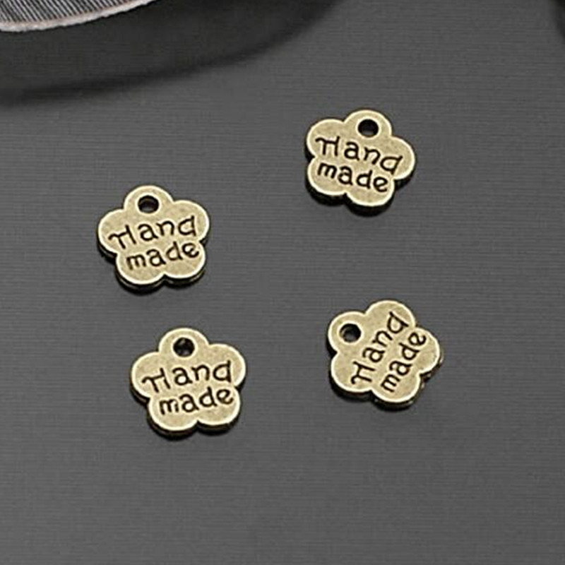 Fashion Antique Silver /Bronze Hand Made Plum Blossom Tag Charms DIY Jewelry Findings 8.5 Mm 100 Pieces