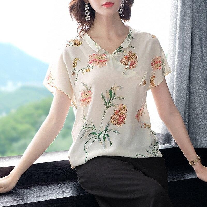 Original lumière de luxe boutique robe 2019 été nouveau bouton décoration impression soie t-shirts P8219 femme manteau