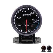 Dynoracing 60 мм черное лицо автомобильный масляный Манометр 0-10 бар датчик давления масла с красным и янтарным освещением автомобильный измеритель