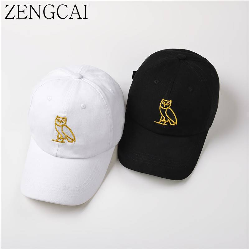 ZENGCAI Black Baseball Cap For Women Men Owl Embroidered Snapback Caps & Hats Cotton Adjustable Adult Hats Hip Hop Bone Gorras 2016 new new embroidered hold onto your friends casquette polos baseball cap strapback black white pink for men women cap