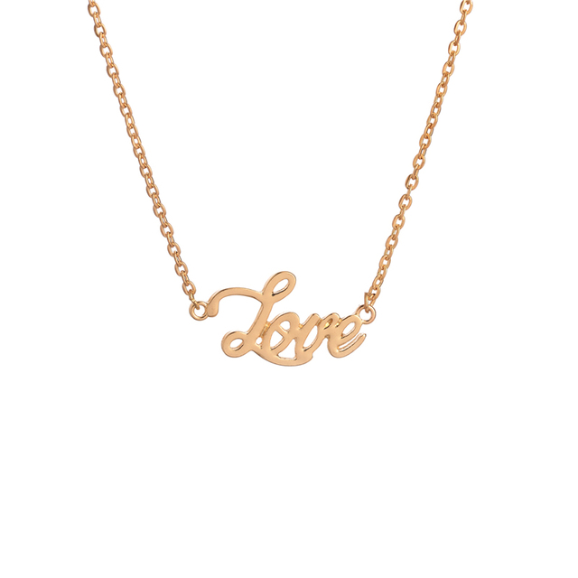 Fashion Design Gold Plated Love Word Necklace Personalized Letter Vintage Pendant Necklace As Mothers Day Gifts