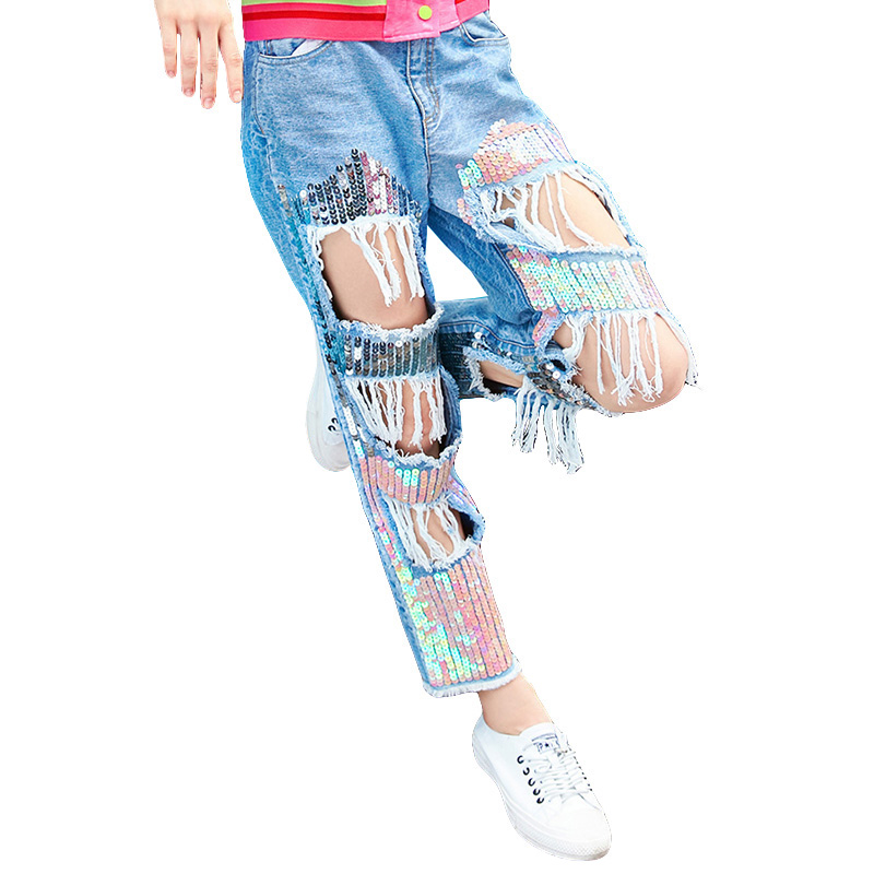 New Arrival 2018 Straight Jeans Women Denim Pants Fashion Holes Sequin Embroidery Loose Casual Trousers Light Blue Ripped Jeans women blue jeans flower embroidery regular female light blue casual pants capris autumn winter pockets pencil jeans bottom