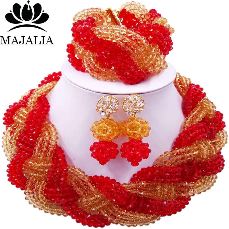 Majalia African Fashion Women Jewelry Set Gold champagne red Nigerian Wedding Jewelry Beaded Sets 12CB008 majalia african fashion women jewelry set royal blue nigerian wedding jewelry beaded sets 12cb006