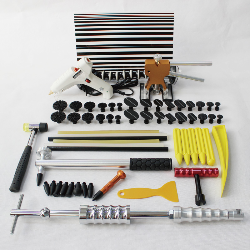 PDR Tools kit remove dents slide hammer paintless dent repair removal set T Bar mini lifter puller glue tabs fix suction hotbox