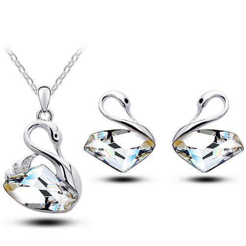 Австрийский Хрустальный Лебедь в форме топора, кулон, Модный Ювелирный набор, бесплатная Прямая доставка, женское ожерелье, серьги, милые романтические подарки для влюбленных