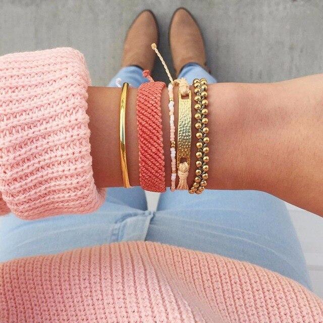 Marca diseñador colorido verano estilo bohemio pulsera para mujer hecho a mano trenzada original boho pulseras moda clásica joyería
