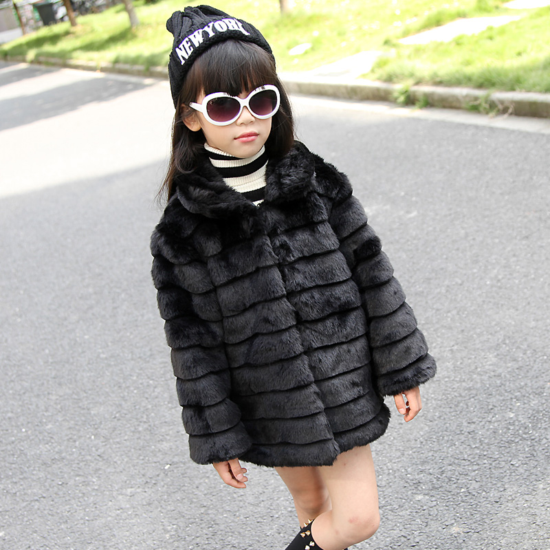 Classic White Black Girls Fur Jacket Brand High Quality Winter Faux Fur Coat European Style Kids Clothing Ladies Kinder Kleidung