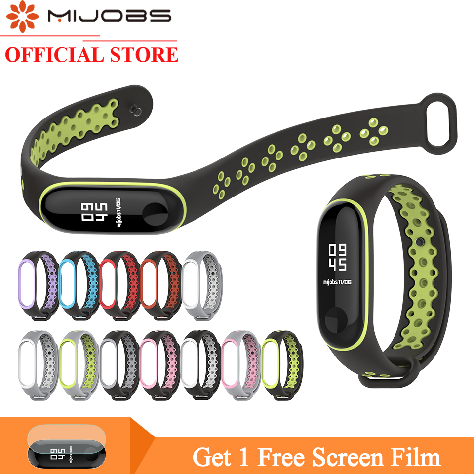 Mijobs Mi Band 4 Strap Sport Wrist Bracelet Miband 3 Silicone Watch For Xiaomi Mi Band 4 3 Strap Accessories Smart Miband 3