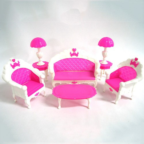 Free Shipping Girl Birthday Gift Plastic Vintage Sofa Couch Desk Lamp 6 Items/Set Accessories For Barbie Doll For Monster High