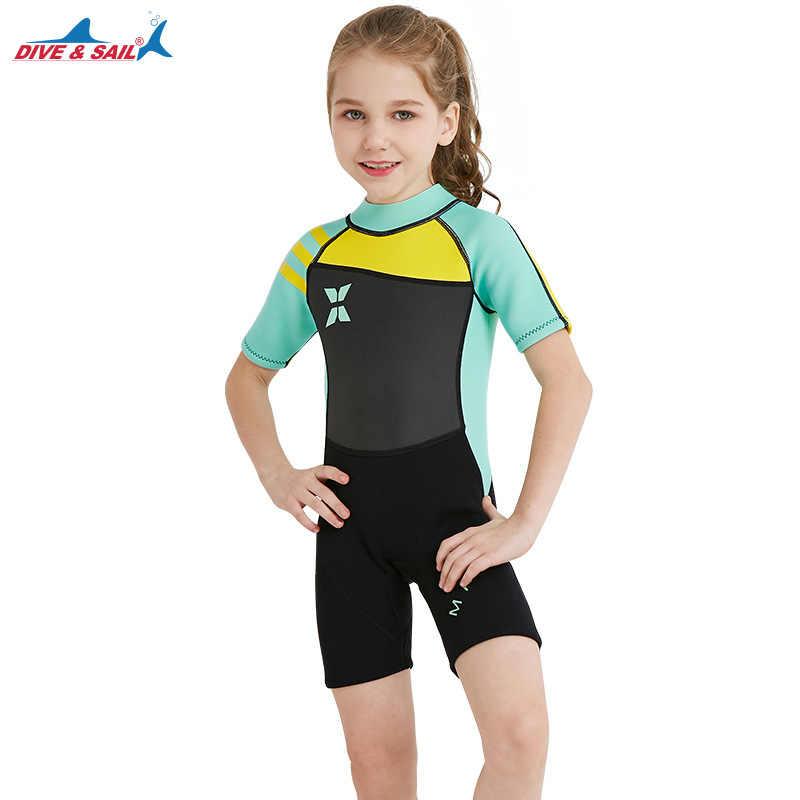 Termal 2.5mm Neopren Çocuklar Wetsuit Dalış dalış elbisesi Çocuk Mayo Tek parça Kısa Güneş Kremi Sıcak Giyim Çocuk Döküntü Muhafızları