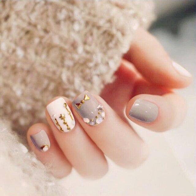 Phototherapy False Nails Grey White Diamond Lovely Starts Moon Full