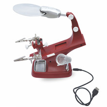 цена на Desk Magnifier LED Light Soldering Iron Stand Clamp Clip Helping Hand Magnifying Lens Clamp Tool
