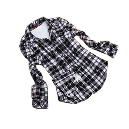 b993e822 Fashion Women's Black & White Color Casual Flannel Check Shirt Plaid  Long-sleeved Blouse Plus Sise 2XL