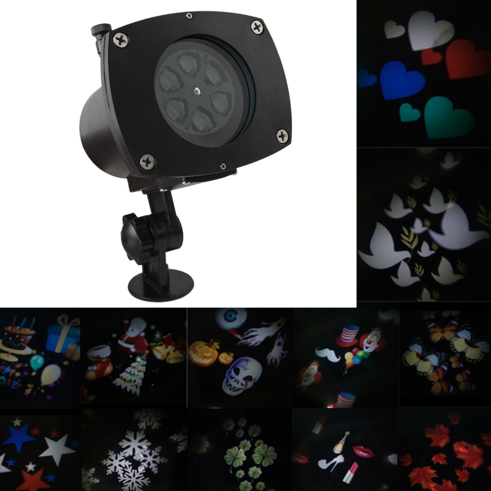 LED Decoration Light Christmas Projector Replaceable Lens 12 Colorful Patterns Night Light for Halloween Birthday Wedding ...
