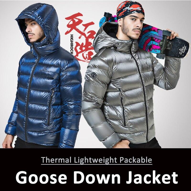 Escursioni Outdoor Giacca Sportiva Invernale Goose Down Jacket Mens Ultra Leggero 90% Piuma D'oca Con Cappuccio Giacche Manica Lunga Outwear Caldo