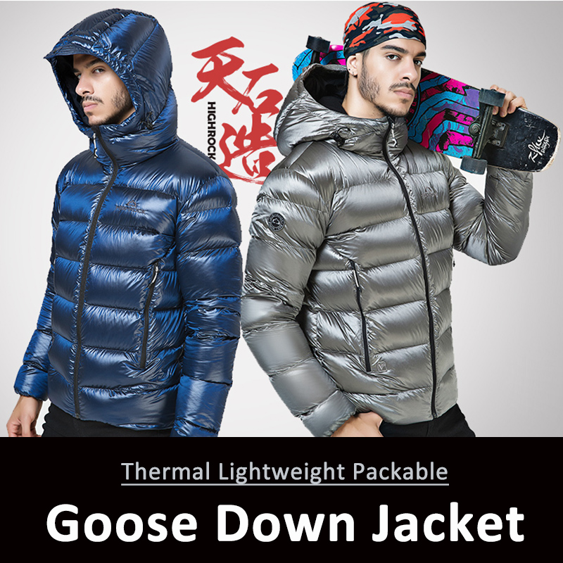 Hiking Winter Outdoor Sports Jacket Goose Down Jacket Mens Ultra Light 90% Goose Down Hooded Jackets Long Sleeve Warm Outwear