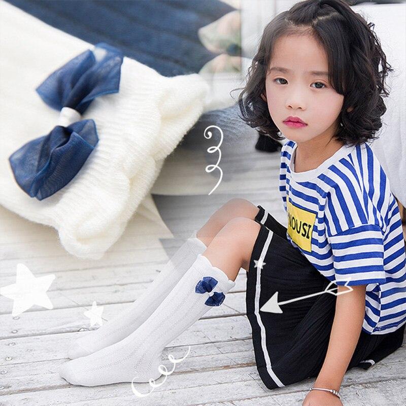 INPEPNOW 2019 School Kids Socks for Girls in School Socks for Children Socks Baby Cute Bow Mesh Cotton Knee Socks Girl WZ-CZX65 4