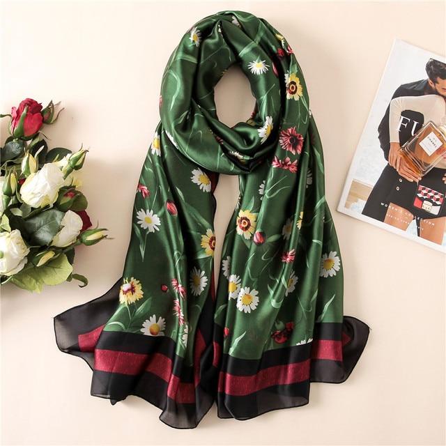 Новый Модный Чистый шелковый шарф женский роскошный брендовый дизайнерский  Daisy Florals Печатный платок 100% натуральный d6314fbde09