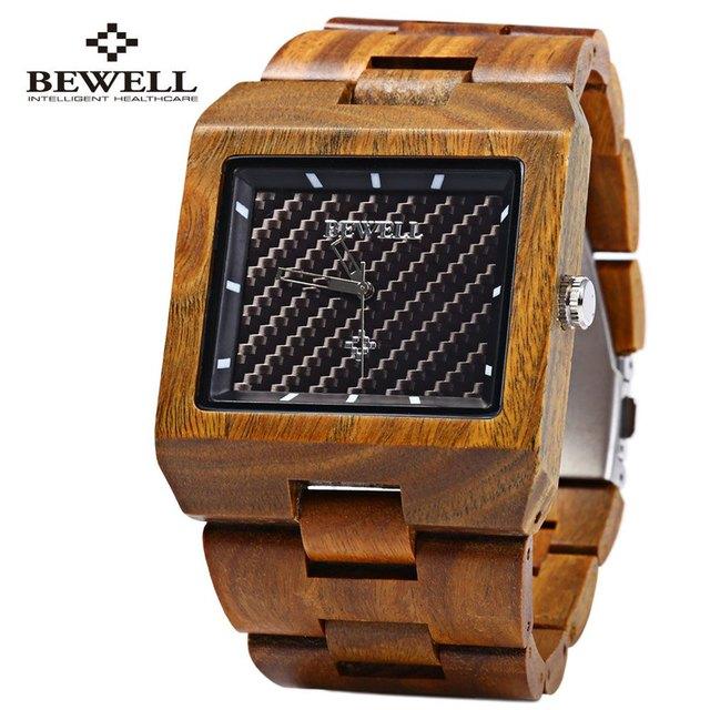 Homens Bewell Madeira Quartz Watch Retângulo Dial Banda De Madeira À Prova D' Água Japão Movtment Analógico Wrist Watches 2016 relojes