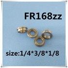 Free Shipping 50 PCS FR168ZZ Flanged Bearings 1/4 x 3/8 x 1/8 Inch Flange Ball Bearings RIF-614ZZ