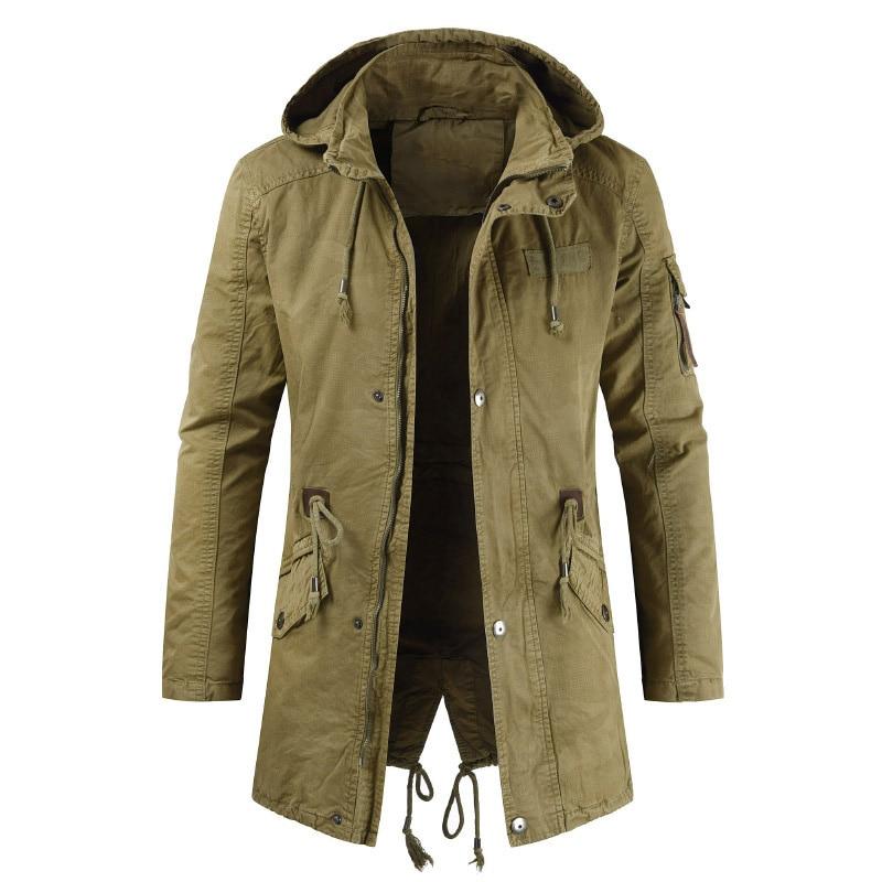 2019 New Arrival Men Jackets Spring Men's Casual Hooded Windbreaker Coat Vintage Zipper Safari Style Outerwear Male Clothes