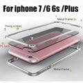 Metal case para iphone 6 s bumper metal side com pc transparente casos da tampa traseira para iphone6 6 s 6 plus 7 além de estrutura de alumínio case