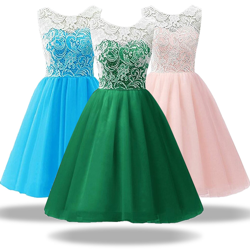 2017 High quality Weddings Lace Tulle Girl Dress For 3-12 yrs Kids Pageant Party Wedding Bridesmaid Ball Gown Prom dress