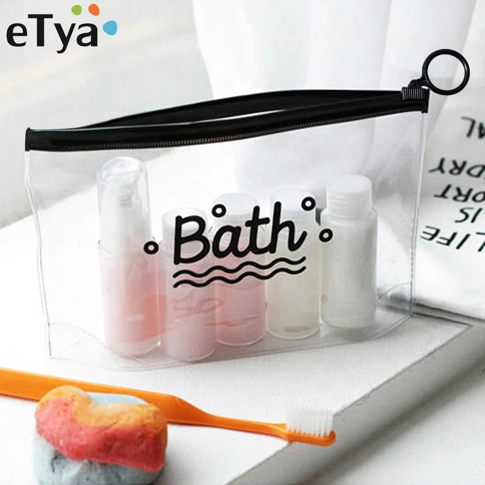 eTya Travel Cosmetic Bags PVC Waterproof Transparent Women Portable Make Up Bag Toiletry Organizer Storage Makeup Bag Wash Pouch