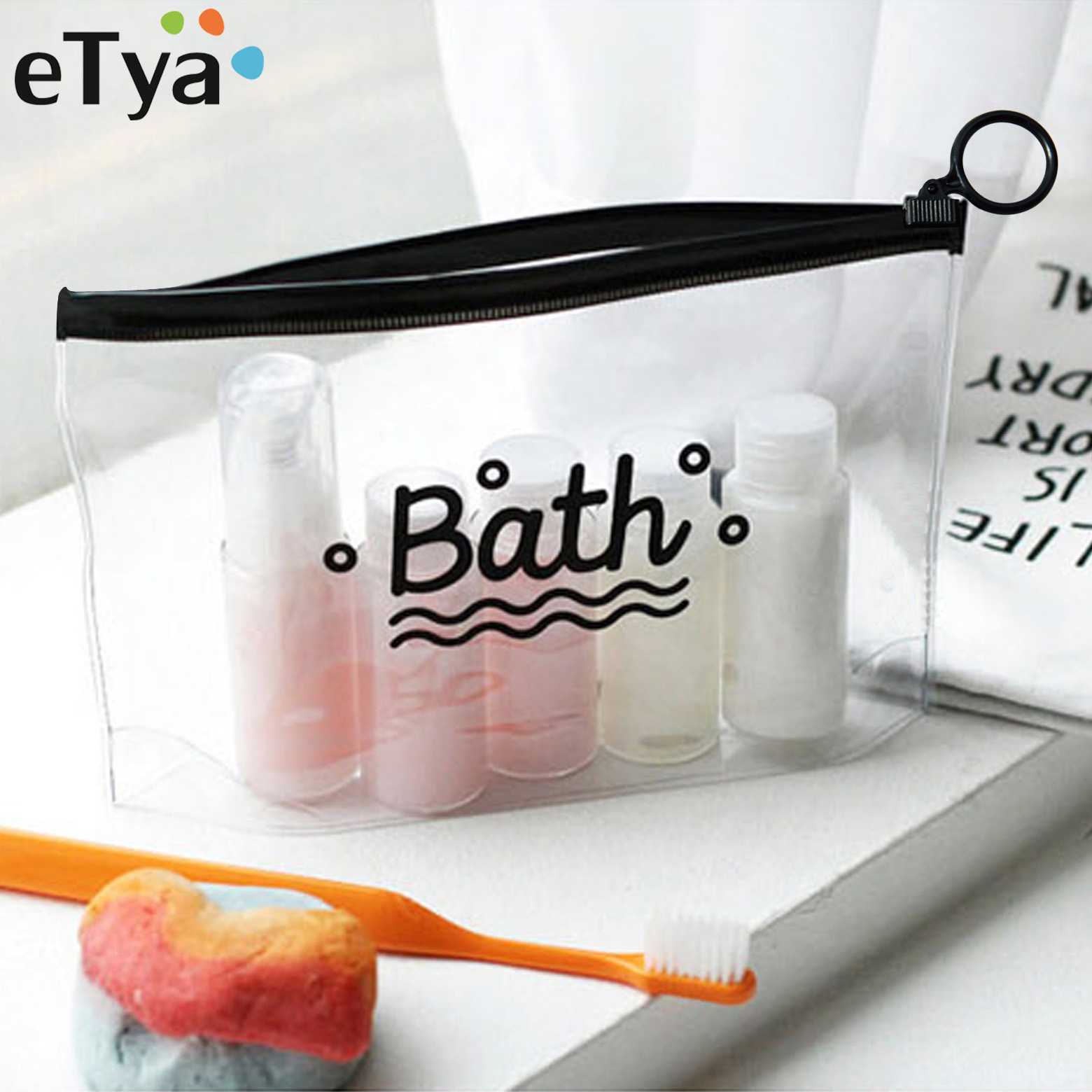 eTya Travel Cosmetic Bags PVC Waterproof Transparent Women Portable Make Up Bag Toiletry Organizer Storage Makeup Bag Wash Pouch цена