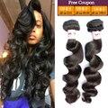 Pelo peruano de la virgen suelta la onda profunda 4 bundles peruano onda floja virginal del pelo queen hair productos de cabello humano de la armadura bundles