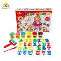6 plasticina cor 3d diy modelo de carta, criança de aprendizagem do alfabeto interesse educacional play set, massa de cor, brinquedos de plástico brinquedo argila