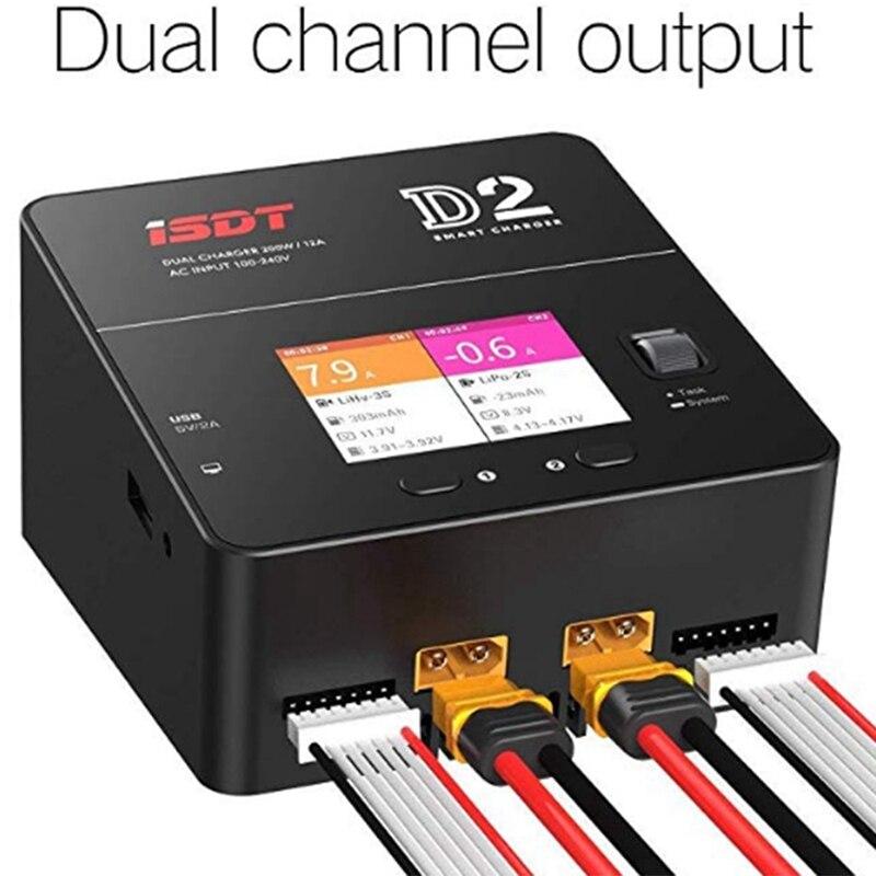 Isdt D2 bateria Lipo zabawka do utrzymywania równowagi z ładowarką Duo rozładowania podwójny 200W 12A2 Ac podwójne wyjście kanału 1 6S akumulator litowo jonowy życie Nicd Nimh Lihv Pb S w Części i akcesoria od Zabawki i hobby na  Grupa 2