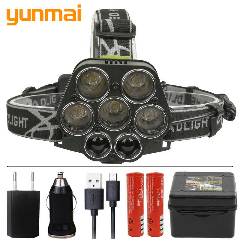 yunmai 2507 35000LM Led Headlamp Micro USB Charger Headlight 5*T6 + 2*XPE Head Lamp Portable Light Torch Lantern for Fishing