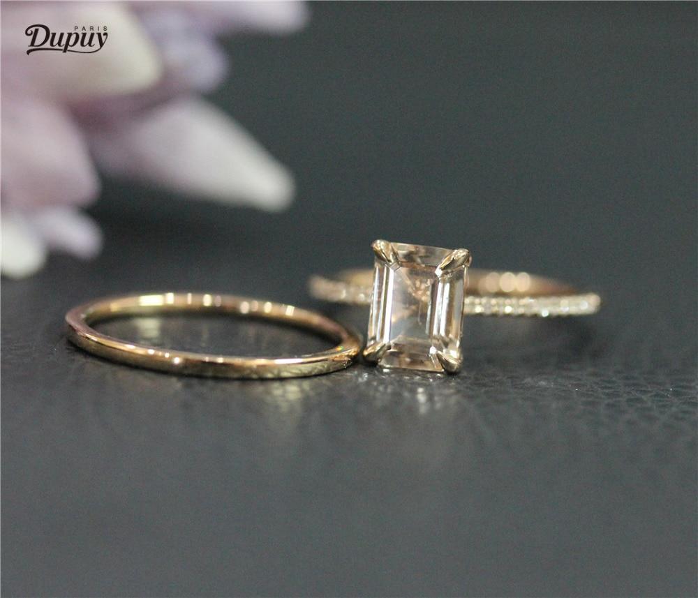 DUPUY VS 6*8mm Emerald Cut Morganite Engagement Ring Set Solid 14K Rose Gold Plain Wedding Ring Set 2pcs Solid 14K Rose Gold Set